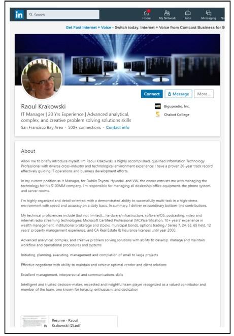 LinkedIn Headline & Summary Bio Example